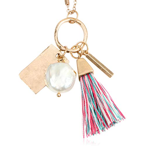RIAH FASHION Bohemian Fringe Tassel Pendant Statement Necklace - Silky Strand Semi Circle Fan Thread, Freshwater Pearl Charm Long Chain (Freshwater Pearl & Delicate Tassel - Multicolor)