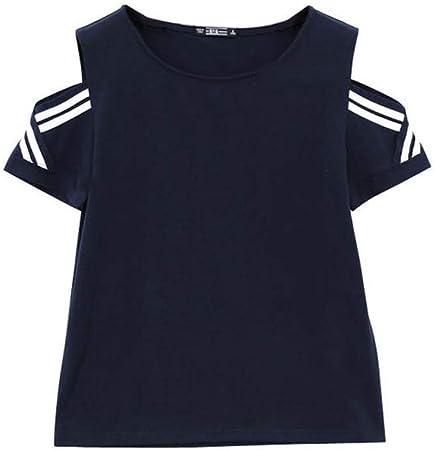 Ladies clothing 2019 Verano Nueva Camiseta Negra de Manga Corta Cuello Redondo Suelta Media Manga de Verano de Manga Larga Fuera del Hombro Damas Camisa de Hombro con Fugas #1-XXXL: Amazon.es: Hogar