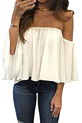 BLUETIME Women Summer Off Shoulder Chiffon Blouses Ruffles Short Sleeves Sexy Tops Casual T Shirts