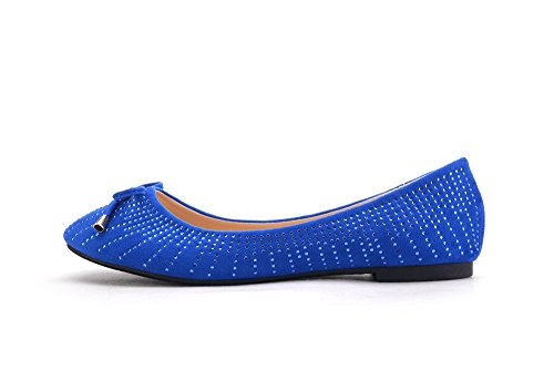 Mila Lady Dana05 Jurk Zachte Flexibele Boog Strass Accent Comfortabele Ballerinas Schoenen R.blauw