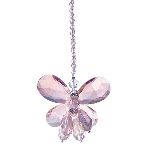 (H&D Pink Chandelier Crystals Butterfly Chakra Hanging Suncatcher Wedding Favor)