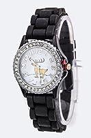 Karmas Canvas Reindeer Crystal Watch - S