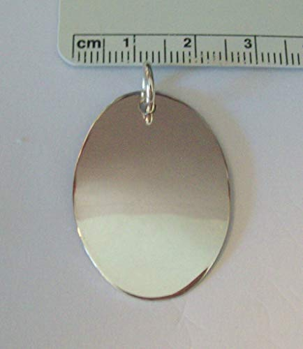 Sterling Silver 33x24mm 5 Gram Engraveable Oval Disk Charm Jewelry Making Supply, Pendant, Sterling Charm, Bracelet, Beads, DIY Crafting and Other by Wholesale - Oval Engraveable Disc Charm