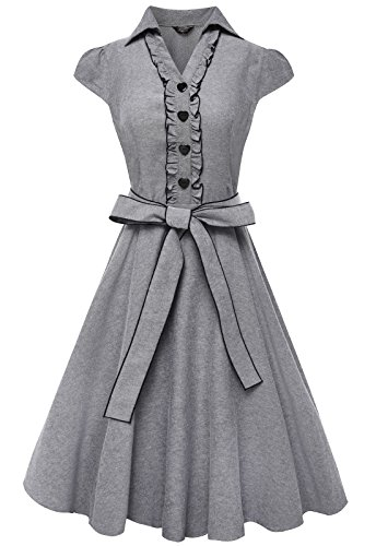 Anni Coco® Women's 1950s Cap Sleeve Swing Vintage Party Dresses Multi Colored