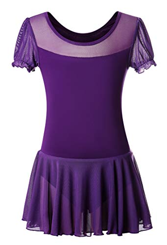 - DANSHOW Girls' Skirted Leotard for Dance Ballet with Puff Sleeve and Tulle Neckline(6-8years,Dark purple)