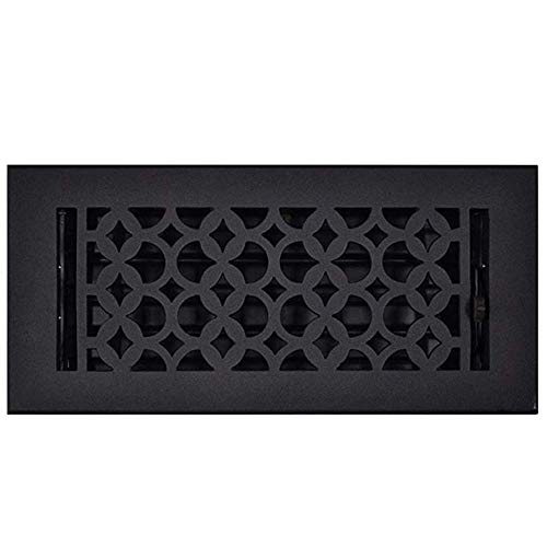 Floor Register 4x10, Cast Iron Floor Vent with Metal Damper Black - Floor Registers for Home Décor, Heavy Duty, Hand Crafted, Sand Casted Home Decorative Hardware, Powder Coated Matte Flat - Black Decorative Register