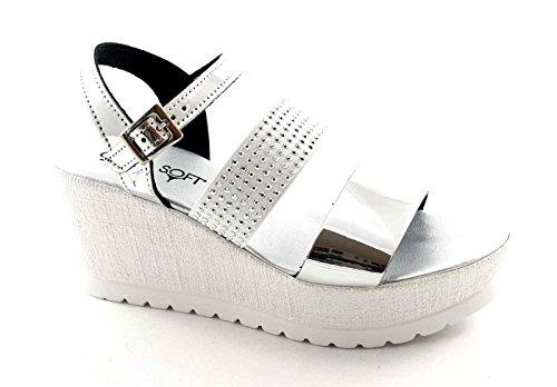 Cinzia Suave IG9475 Sandalias de Cuero de Plata Zapatos de Mujer Cuña Elástica Diamantes de Imitación Argento
