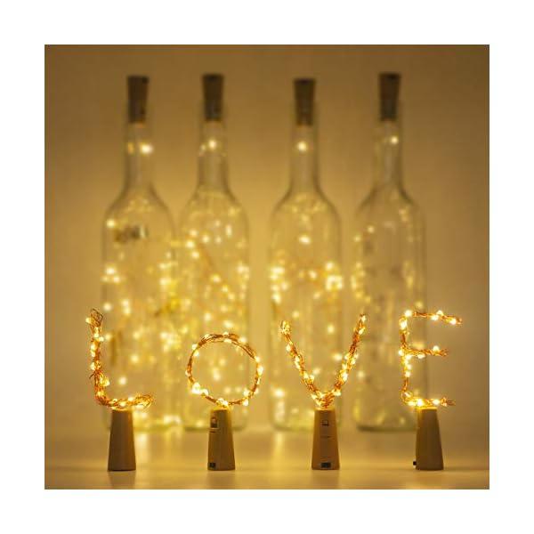 Luci per Bottiglia (9 pezzi), Litogo Luci Tappo LED a Batteria per Bottiglie, Filo di Rame Led Decorative Stringa Luci da Interni e Esterni per Festa, Giardino, Natalizie, Matrimonio (Bianco Caldo) 4 spesavip