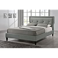 Baxton Studio Marquesa Fabric Upholstered Platform Bed, Grey, Queen