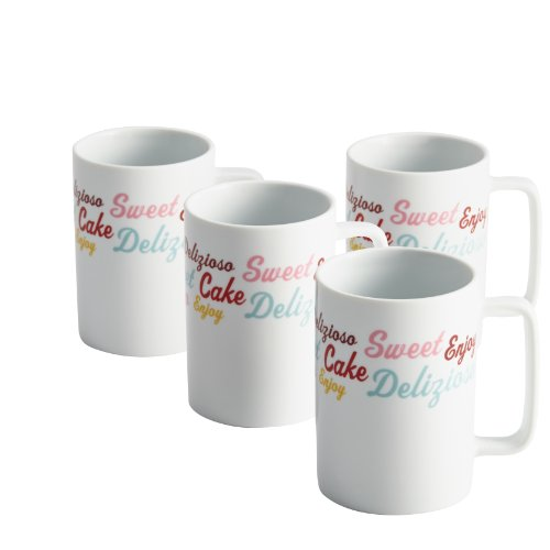 - Cake Boss Serveware 4-Piece Porcelain Mug Set,