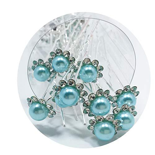 (10Pcs/Set Bride Hair Pins Beads Rhinestone Wedding Bridal Flower Hairpins Clip Grips Women Ladies Girls Hair Accessories)