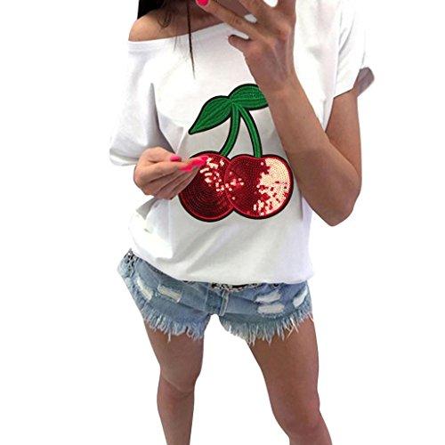 Opeer Women Shirt Fashion Casual Cherry Short Sleeve Off Shoulder Blouses Tank Top (XL, ()
