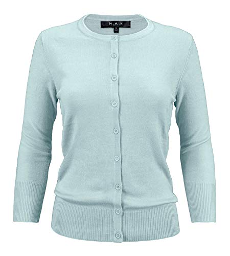 YEMAK Women's 3/4 Sleeve Crewneck Button Down Knit Cardigan Sweater CO079-LBL-L Light Blue