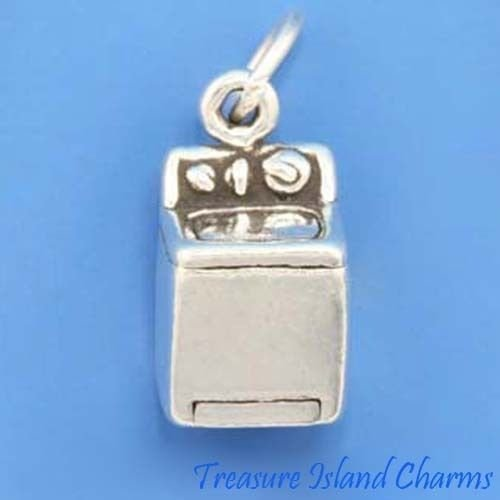 Sterling Silver Washer - Washer Laundry Washing Machine 3D .925 Sterling Silver Charm MADE IN USA Jewelry Making Supply Pendant Bracelet DIY Crafting by Wholesale Charms