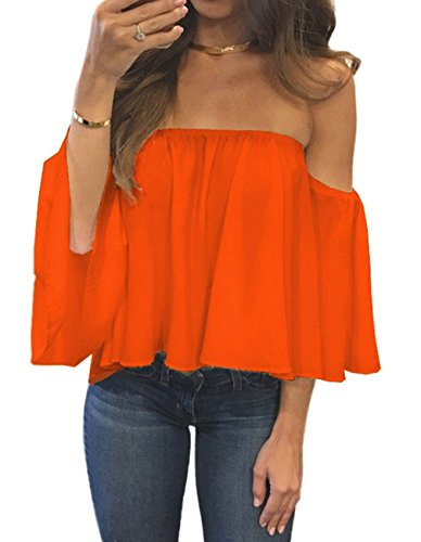 Miskely Women's Summer Off Shoulder Blouses Short Sleeves Sexy Tops Chiffon Ruffles Casual T Shirt (L, Orange)