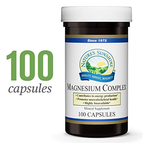 Nature's Sunshine Magnesium Complex, 100 Capsules   Magnesium Supplement with 100mg of Magnesium Citrate and Magnesium Malate for High Absorption