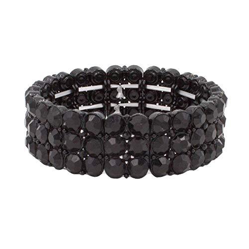 "- Lavencious Round Shape Rhinestone 3 Lines Stretch Bracelet Evening Party Jewelry 7"" (Jet Black)"