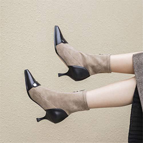Donna Stivali Di Da In Boots Festa Yan Anteriore Stiletto Primavera Autunno Pelle D Scamosciata Stivaletti E Nozze Serate Fashion Zipper Stretch TqEdwSwx5