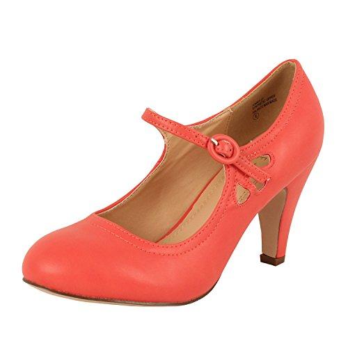 (Chase & Chloe Kimmy-21 Women's Round Toe Pierced Mid Heel Mary Jane Style Dress Pumps (6.5 B(M) US,)