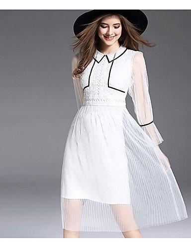 Cuello De Fiesta Vestido 4 Redondo Vestido 3 Elástica Manga Cintura Blanco Mujer Pura JIALELE Fiesta 5nBYq4Bw