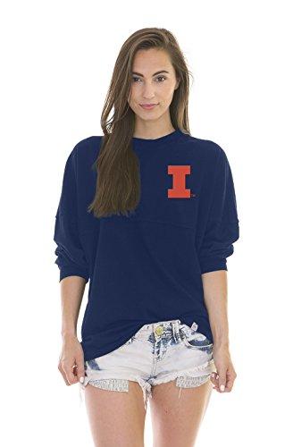 NCAA Illinois Illini Women's Jade Long Sleeve Football Jersey, Navy, Medium