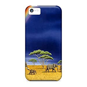 Awesome Case Cover/iphone 5c Defender Case Cover(elephants Rainbows)