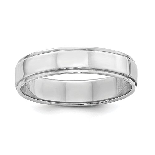 Flat with Step Edge 5mm Sterling Silver Wedding Band