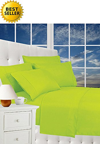 Best Seller Luxurious Bed Sheets Celine Linen 1800 Thread Count Egyptian Quality Wrinkle Free 4-Piece Sheet Set with Deep Pockets 100% HypoAllergenic, Queen Lime Lime Green Sheet Set
