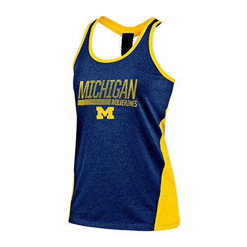 [NCAA Michigan Wolverines Women's Poly+ Tank, Medium, Navy Heather] (Michigan Wolverines Clothing)