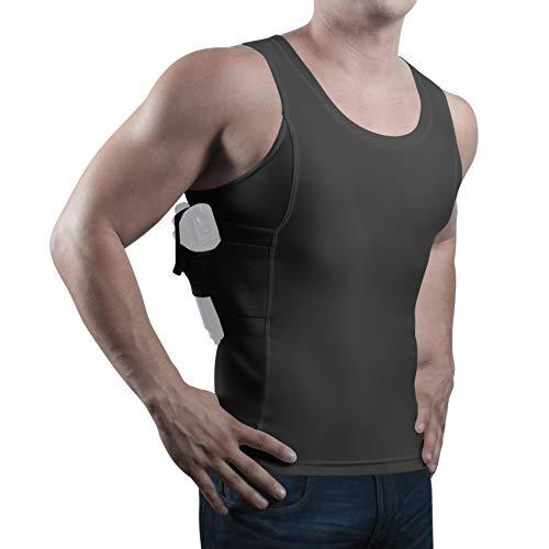 ConcealmentClothes Men's Compression Undercover- Concealed Carry Holster Tank Top Shirt - Black - Large ()