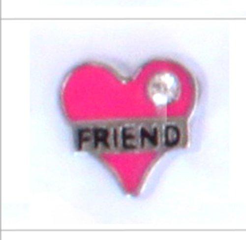 Floating Locket Charm (Pink Friend Heart)
