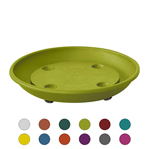 ALMI Rolling Plant Stand Caddy Saucer Round 10 Inch Dolly for Balcony Garden, Plastic Accent Round Planter Drip Tray, Home Decor Planter for Plants, UV Resistant Paint, Indoor & Outdoor, Lime Green
