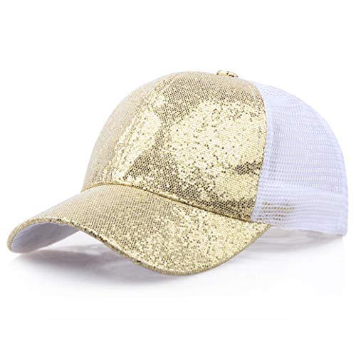 LiPing Ponytail Baseball Cap Sequins Shiny Hat Cap for Womens - Workout Sweat band, Soft, Comfortable, Perfect for Working/Accessories for Fashion Or Sport (Gold Tapered Design Band)