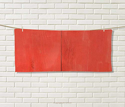Anniutwo Coral,Hair Towel,Vintage Wood Board Plank Texture Image Aged Barn Door Lumber Grunge Natural Surface,Quick-Dry Towels,Dark Coral Size: W 8'' x L 23.5'' by Anniutwo (Image #1)