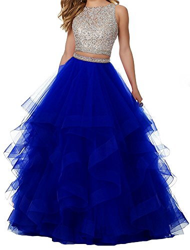 Honeydress Women's Sexy Beaded Layered Ruffles Tulle Two Pieces Prom Dress Royal ()