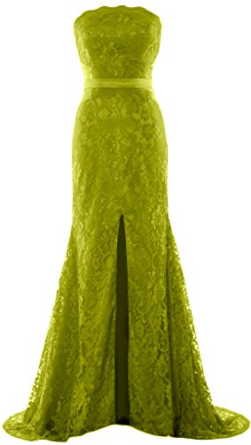 MACloth Women Mermaid Strapless Evening Gown Wedding Party Formal Prom Dress Verde Oliva