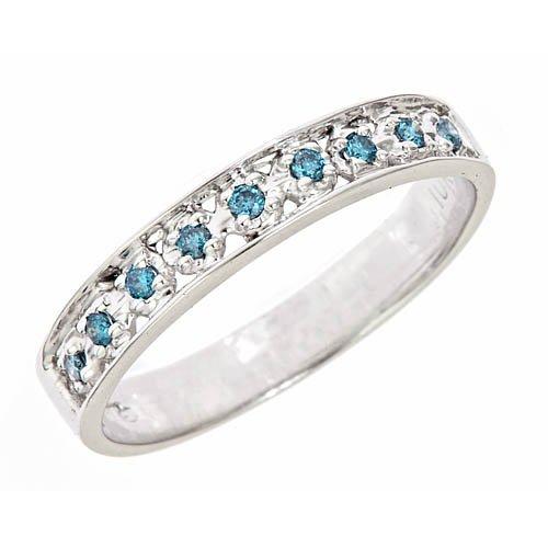 1/6 Carat (ctw) Pave Set Blue Diamond Wedding Anniversary Band Ring 10K White Gold