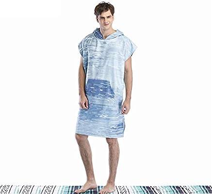Bata de cambio de playa para adultos, Batas de microfibra unisex para adultos Toalla Poncho Capa azul-verde Costura Engrosamiento Poncho para surfear Traje ...
