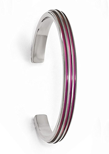 Titanium Pink Anodized Grooved 7mm Cuff Bracelet