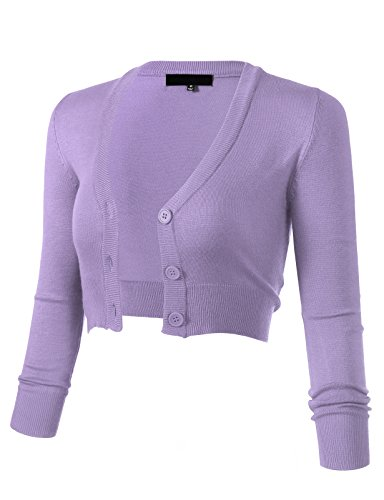 ARC Studio Women's Solid Button Down 3/4 Sleeve Cropped Bolero Cardigans 4XL Lilac CO129