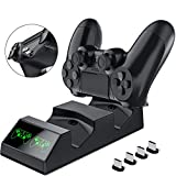 BEBONCOOL PS4 Controller Charger Playstation 4 Charger Station with 4 Micro USB Charging Dongles PS4 Controller Dual Charging Dock for Sony Playstation4/PS4 Slim/PS4 Pro Controller