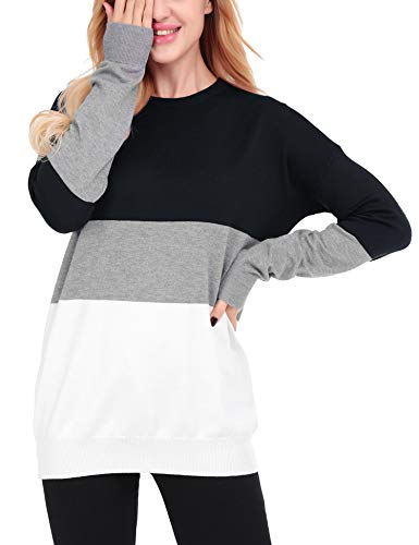 66516f71 Uniboutique Womens Crewneck Long Sleeve Color Block Casual Pullover Sweaters