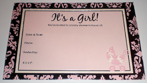 It's a Girl Baby Shower Pink / Silver Party Invitations w/ Envelopes