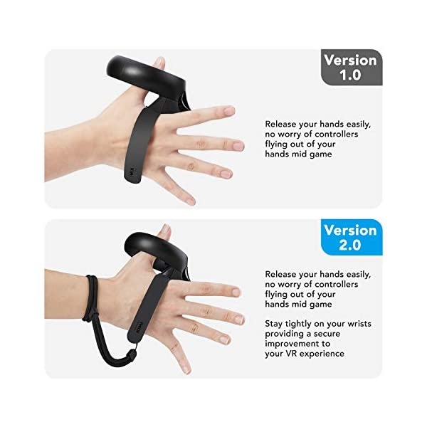 [Newer Version] KIWI design Knuckle Strap for Oculus Quest/Oculus Rift S Touch Controller Grip Accessories with Adjustable Wrist Strap (Black, 1 Pair) 3