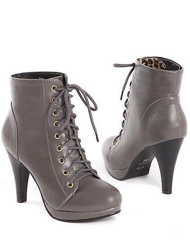Casual us8 Zapatos Eu39 Tacón Trabajo Mujer Cono negro us8 Uk6 C Black Marrón Oficina A Cn39 Gray Y Semicuero Vestido La Xzz Botas De Moda Puntiagudos 64xqqwCR