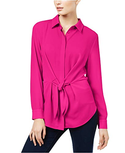 INC International Concepts Tie-Front Shirt, Magenta Sky, Large from INC International Concepts