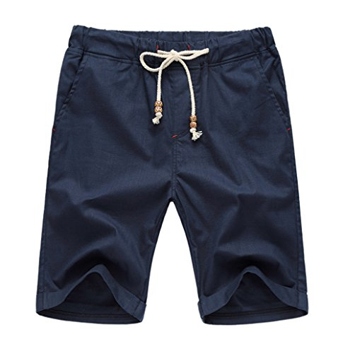 Our Precious Men's Linen and Cotton Casual Classic Fit Short Navy Blue ()