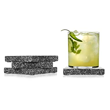 Home Basics CS44555 4 Piece Granite Coaster Set, Black