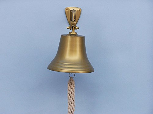 Handcrafted Model Ships BL-2050-7AN Antique Brass Hanging Ships Bell - 9 in.