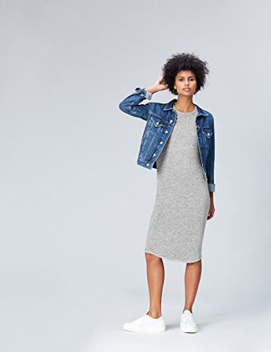 Femme Gris FIND Manches Robe Grey Longues wqwaptS